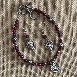 Silpada Garnet Heart Charm Bracelet & Earrings